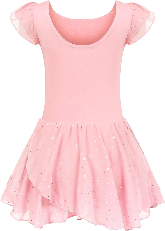 trudge niñas Ropa de Ballet Vestido de Ballet niñas Manga Corta Ballet de algodón Leotardo Traje de Ballet Vestido de Baile Cuerpo de Baile con Falda tutú