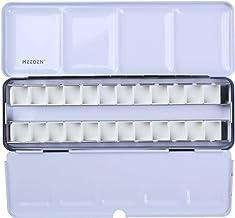 MEEDEN Empty Watercolour Tins Palette Paint Case with 24 Pcs Half Pans