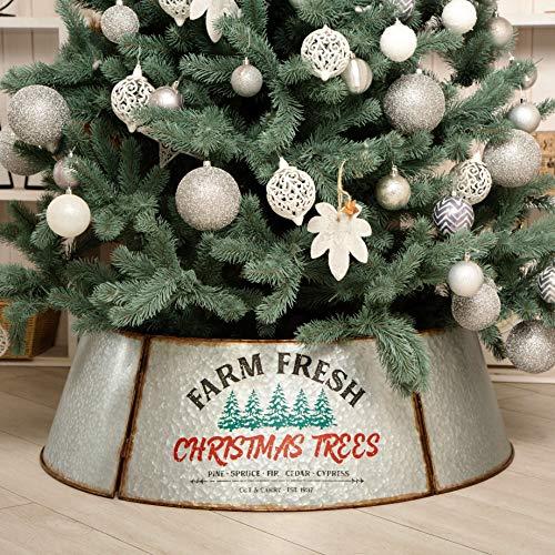 Hallops Galvanized Tree Collar - 36' Extra Large (Oversized). Adjustable Size. Metal Skirt, Christmas Tree Decor