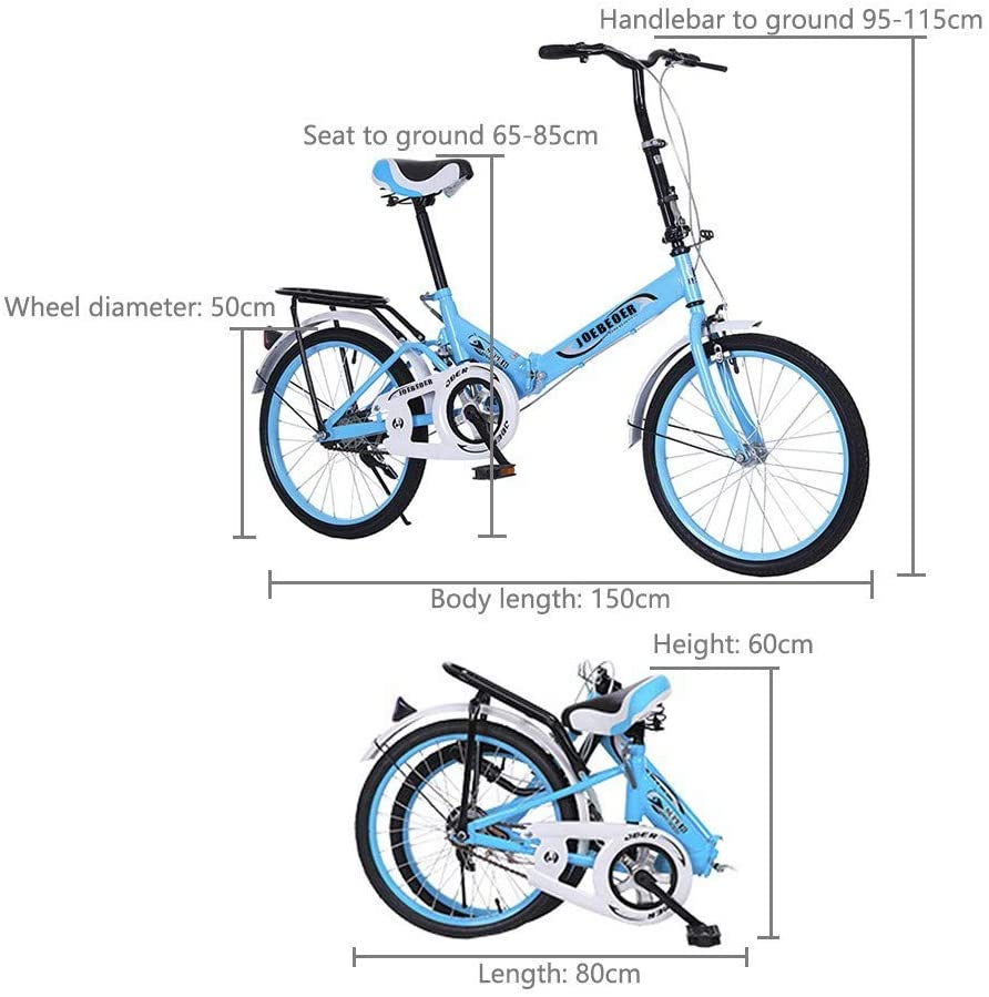 20 Inch Folding Bike for Adult /& Students,Compact City Commuter Bike,Lightweight Urban Outdoor Road Bicycle Mini Pedal Design Portable City Cycling,Foldable Leisure Bike with Adjustable Backseat