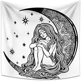 OERJU 29.5x29.5 inches Moon Girl Tapestry Crooked Moon Starlit Starry Sky Beautiful Girl with Long Hair Intricate Pattern ...