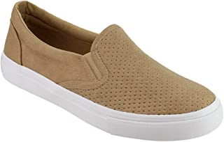 LUSTHAVE Women's Slip On White Sole Shoes - Athletic Fashion Perforated Sneaker - Padded Cushion