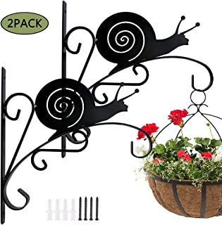 Colwelt 2 Piece 11'' Wall Planter Hanger Hooks, Rustic Decorative Iron Hanging Plants Bracket with Screws, Rust-Resistant Wind Chime Lanterns Hanger(Snail)