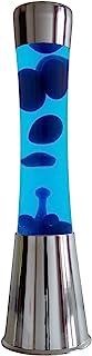 Fisura LT1050 Lámpara Grande de Lava Magma con Liquido Azul y Cera Azul | Lámpara de Lava Original Color Plateado Cromado, 40 cm
