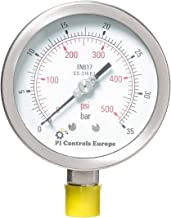 PI Controls UK Pressure Gauge, PG-100-R35-WF-SS