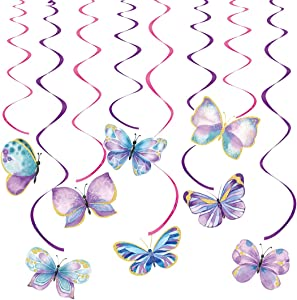Butterfly Party Decorations, Butterfly Hanging Swirl Decor, 16 Pcs Butterfly Party Supplies for Birthday Wedding Party, Ceiling Hanging Swirl Decorations, Home Classroom Baby Shower Supplies