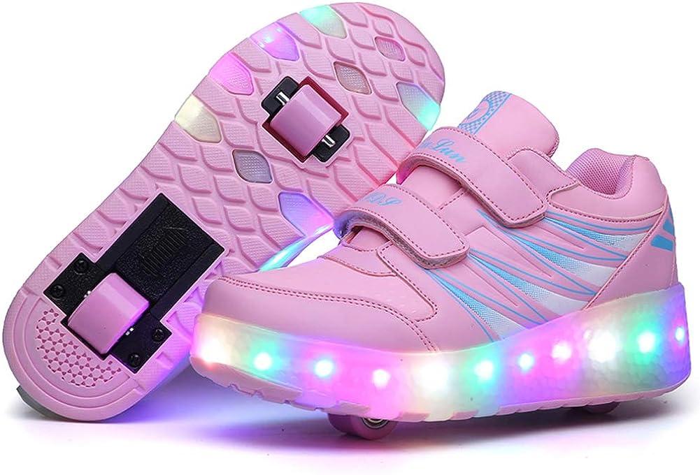 Auhoho Kids Led Light Up Shoes Sneakers Single Wheel Roller Skates Shoes for Boys Girls