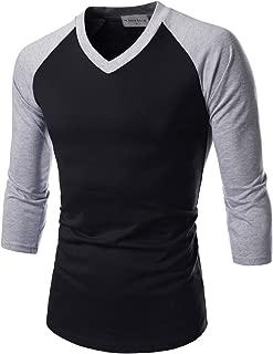 Mens Baseball Tee Shirts Casual V Neck Raglan Cotton Tops 3/4 Sleeve