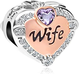 QueenCharms Rose Gold Heart Love Wife Charm Beads for Bracelets