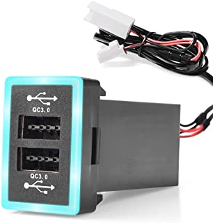 MICTUNING Dual USB 6.4A QC3.0 Quick Charger with LED Light for Toyota (Surface Size: 1.3 x 0.9 inches)