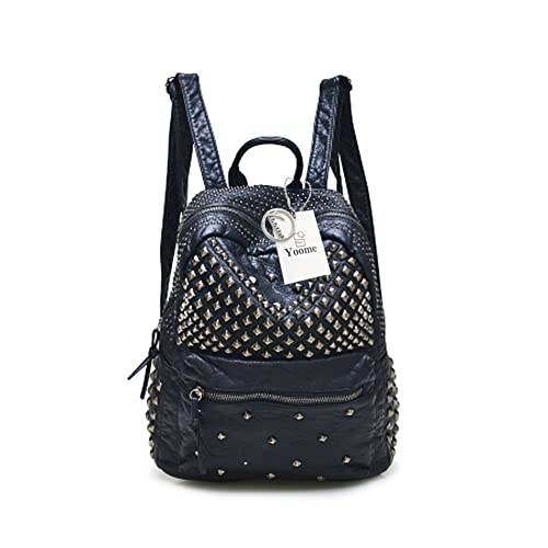 6d1f67f151 Yoome Backpack with Rivet Studded Washed Leather Casual School Bookbag  Ladies Shoulder Bag Purse