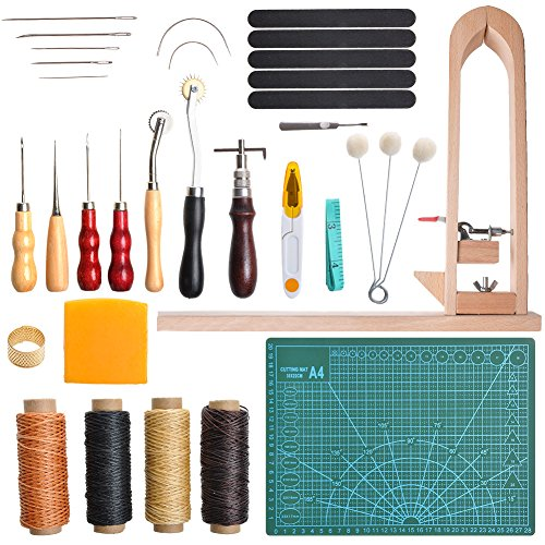 LAMPTOP 33 Pieces DIY Leather Craft Tools Hand Stitching Tool Set with Stitching Pony,Matting Cut, Groover Awl Waxed Thimble Thread, Basic Hand Stitching Sewing Tools for DIY Leather Craft Man