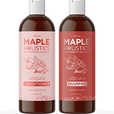Argan Oil Shampoo and Conditioner Set - Sulfate Free Shampoo and Conditioner for Dry Damaged Hair - Volumizing Shampoo and Conditioner for Men and Women for Healthy Hair Shine and Frizz Control