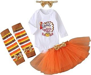 Newborn Baby Girl Thanksgiving Outfit Long Sleeve Turkey Romper+Solid Tulle Tutu Skirt+Striped Leg Warmer+Bowknot Headband