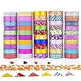 Comius Sharp Juego de 50 rollos de cinta Washi con purpurina, cintas decorativas para manualidades y manualidades para envolver regalos