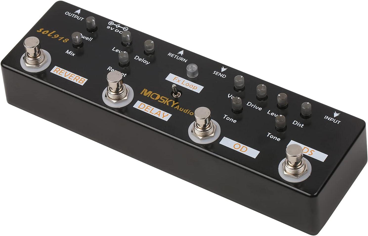 Summina Pedal de Efectos Múltiples 5 en 1 Pedal de Guitarra de Efectos Combinados True Bypass Dispositivo de Efectos Combinados Múltiples en Uno Reverberación Delay Fx Loop Overdrive Distorsión