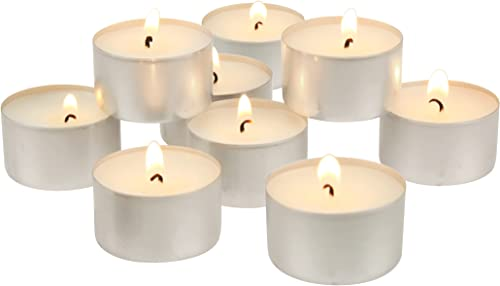 Stonebriar DTL-100-8 Long Burning Tealight Candles - 8 Hours - White - Unscented - 100 Pack, White, 200 Pack (6-7 Hour)