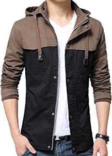 XINHEO Mens Cargo Work Hit Color Snap Button Trench Coat Jacket