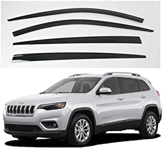 AUTOCLOVER Dark Smoke Side Window Vent Visor 4 Piece Set for Jeep Cherokee 2015 2016 2017 2018 2019 / Safe RAIN Out-Channel Guard Deflector