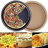 FANDE 2 Pezzi Teglia per Pizza Antiaderente, Acciaio al Carbonio da 9 Pollici Teglia per Pizza Rotonda Antiaderente Forno a microonde Piatti da Forno Teglie Teglia Teglia Teglia Antiaderente