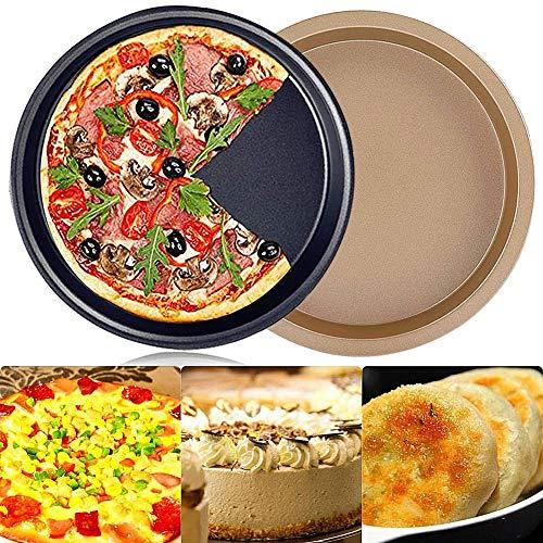 FANDE 2 Piezas Bandeja Para Pizza de Horno Antiadherente de, Bandeja Para Pizza cao, Bandeja Para Hornear Pizza Redonda, Para Horno Bandeja Para Pizza de Acero al Carbono, Diámetro 23 cm