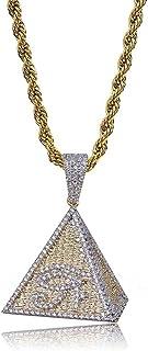 Gioielli Moca Iced out Piramide Occhio di Horus Collana con Ciondolo in Oro Placcato in Oro 18 carati Bling CZ Collana con...