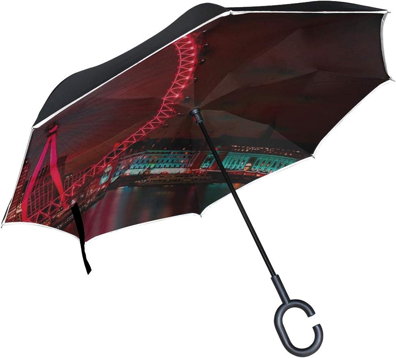 Rh Studio Ingreened Umbrella Ferris Wheel Night City London Large Double Layer Outdoor Rain Sun Car Reversible Umbrella