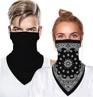 ATIMIGO 2 Pack Face Bandana Ear Loop Stylish Men Women Neck Gaiters for Dust Wind Motorcycle Mask Outdoors Sports Black
