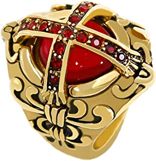 eejart Crusader Templar Cross Rings Ruby Cubic-Zirconia 316L Stainless Steel Ring Size 7 to 15
