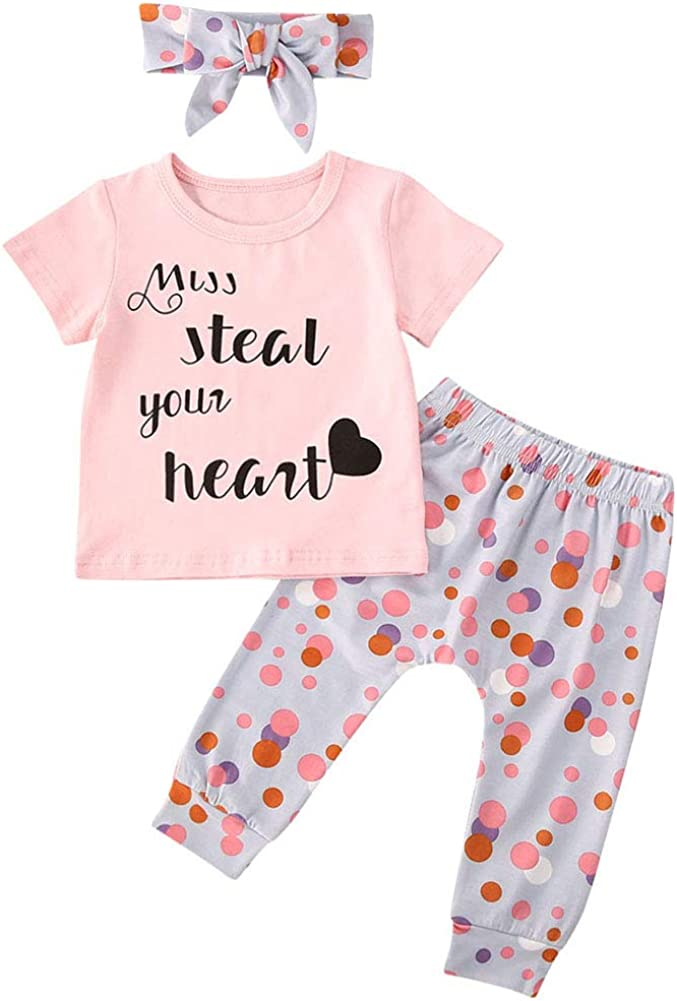 Baby Girls 3 Pcs Pants Outfit Set Short Sleeve Letters Print T-Shirt Top Flowers Pants and Headband