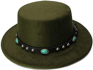 Elegant Hats Wide Brim Bowler Trilby Fedora Hat for Women Plain Flat Lady Felt Hats Vintage European by Original Design Natural Caps (Color : Green, Size : 57-58CM)