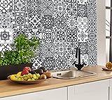 hpniub 30 pezzi adesivi piastrelle e cucina,marocchino adesivo per cucina,impermeabile pvc autoadesivo decorazione,grigio adesivi per piastrelle per bagno,fai da te mosaico adesivo pavimento,15x15cm