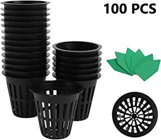 Akarden 100PCS 2 Inch Garden Slotted Mesh Net Cups, Plastic Plant Nursery Pots with 100PCS Plant Label, Hydroponics Slotted Mesh