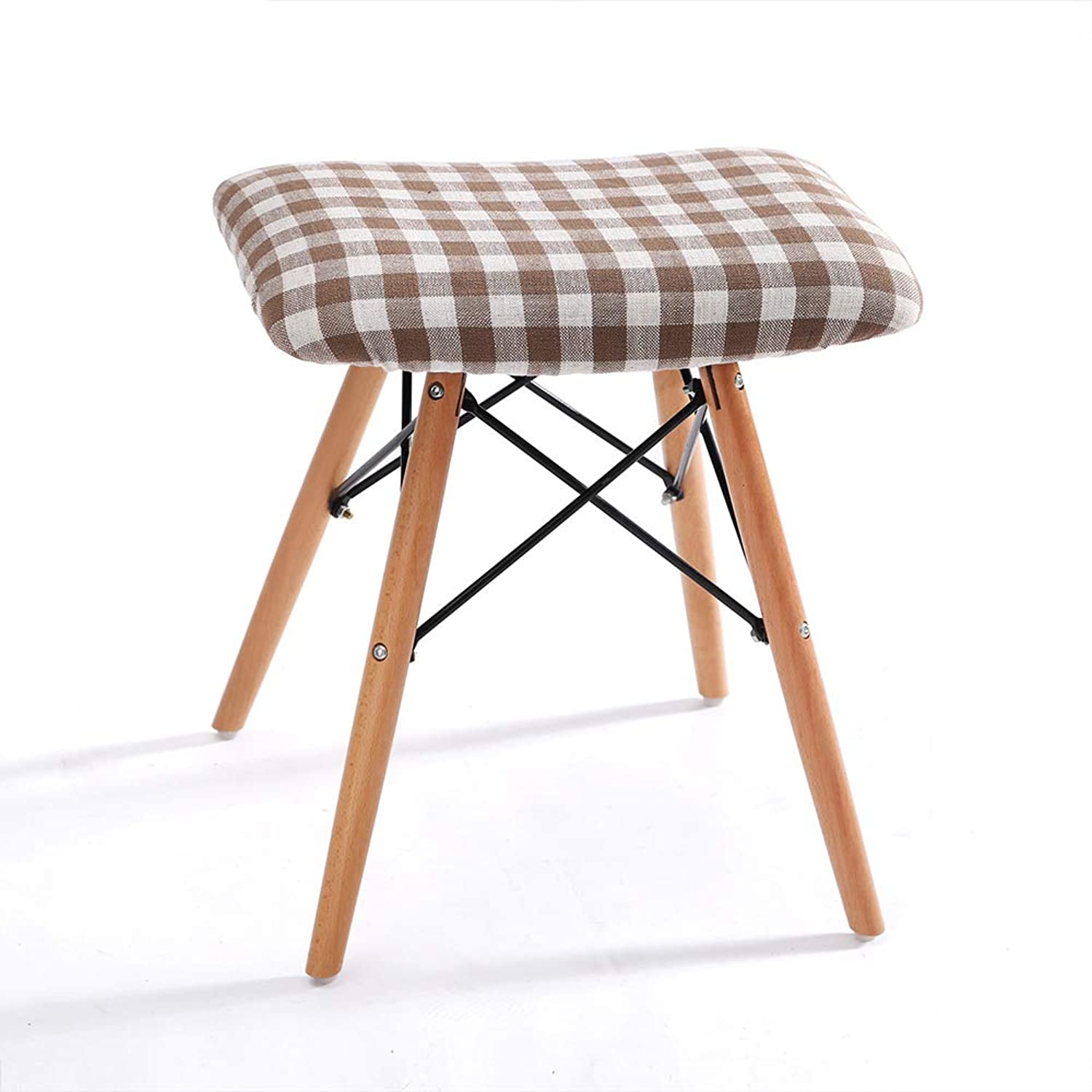 LifeX Office Luxury Solid Wood Stool Pouffe Makeup Stool Fabric Dining Stool Home Square Footstool Coffee Table Chair Study Room Computer Seat shoes Stable Structure Bench (color   Stripe B)