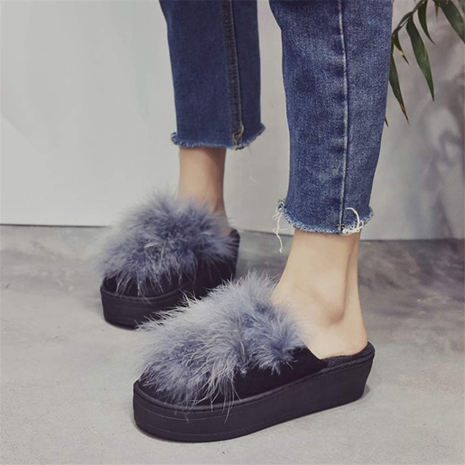 T-JULY Women Fur Slippers Platform Fashion Winter Warm Wedge shoes Woman Slip on Flats Female Slides
