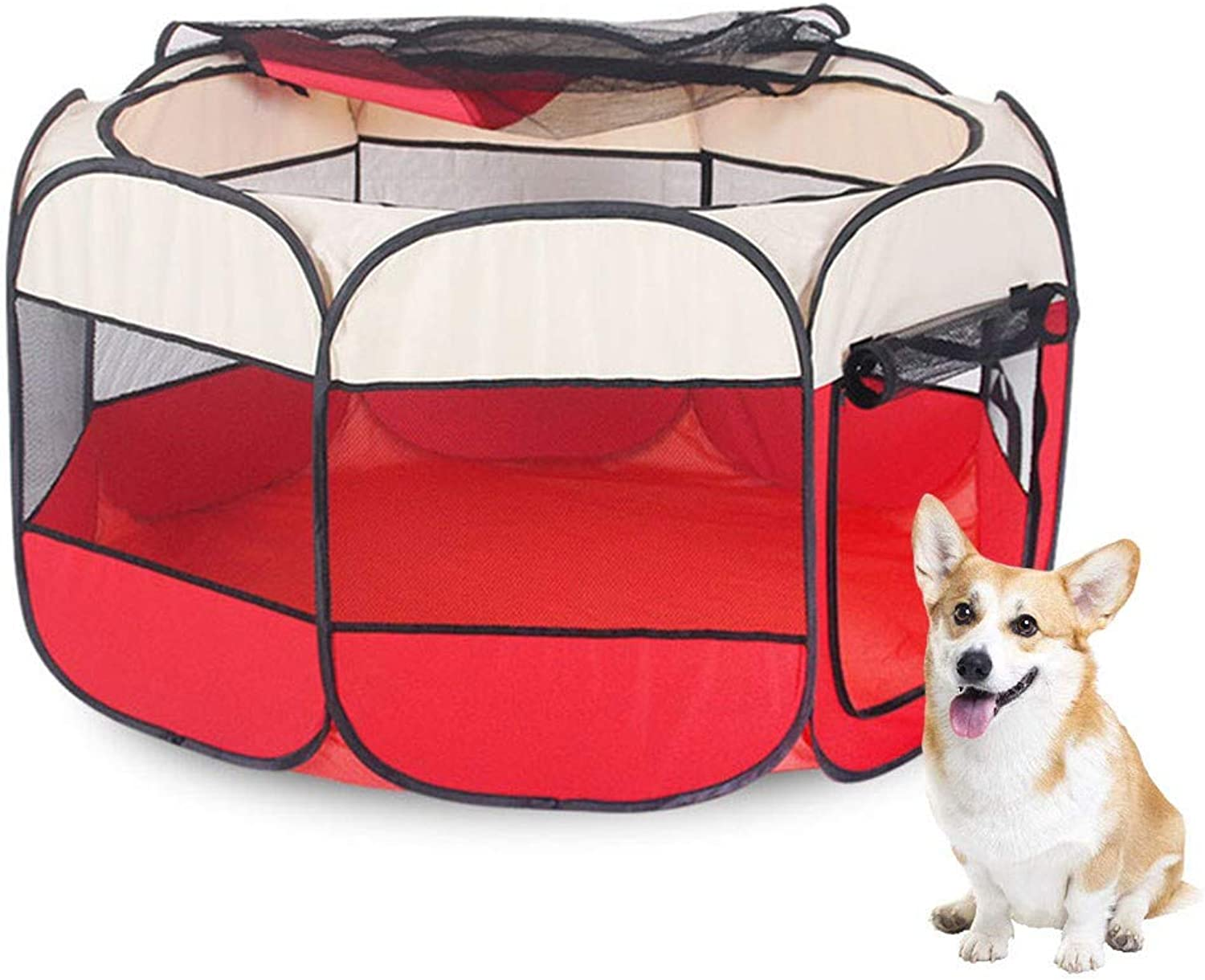 Pet playpen Pet pens for dogs,dog tent Pets Foldable, Indoor Outdoor use,Water resistant,Removable shade cover,Dogs Cats Rabbit (73X73X43cm)