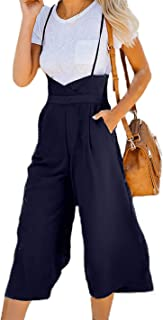 HZSONNE Women's Casual High Waist Spaghetti Strap Jumpsuits Wide Leg Suspender Pants Palazzo Flare Trousers Overalls