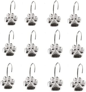 AsgenoX 12PCS Durable Paw Print Shower Curtain Hooks for Bathroom, Kids Room Baby room, Bedroom, Living Room Decor