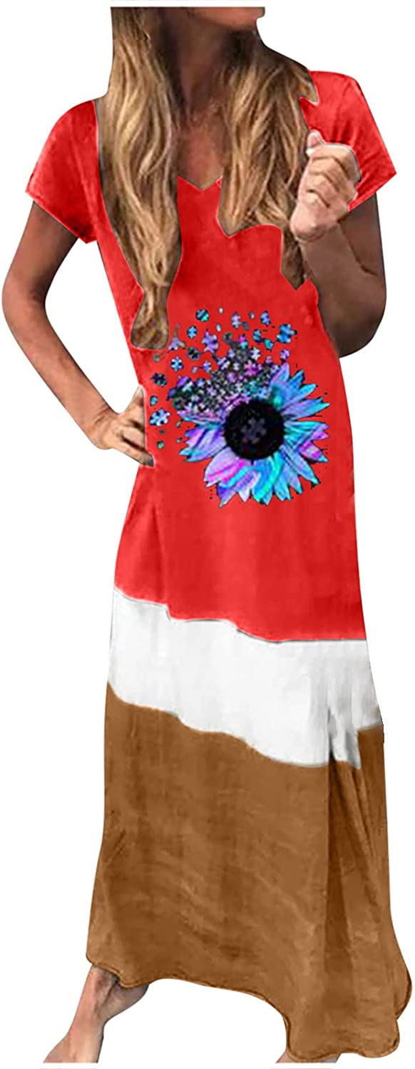 Sun Dresses Women Summer Women's Casual Loose Splicing Short Sleeve Printed O-Neck Ankle-Length Dress Casual Sexy Boho Red