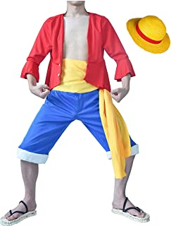 I TRUE ME Adult Anime Monkey D. Luffy Cosplay Red Outfit and Yellow Straw Hat Cap Cosplay Uniform Doll & Animation