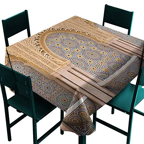 Warm Family Moroccan Restaurant Tablecloth Typical Moroccan Tiled Fountain in The City of Rabat Near Hassan Tower for Kitchen Dinning Tabletop Decoration W36 x L36 Apricot Pale Brown