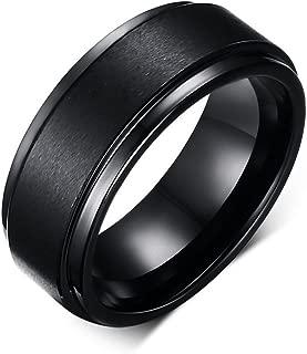 8MM Black High Polish/Matte Finish Men's Tungsten Ring Wedding Band 7-12 (12)