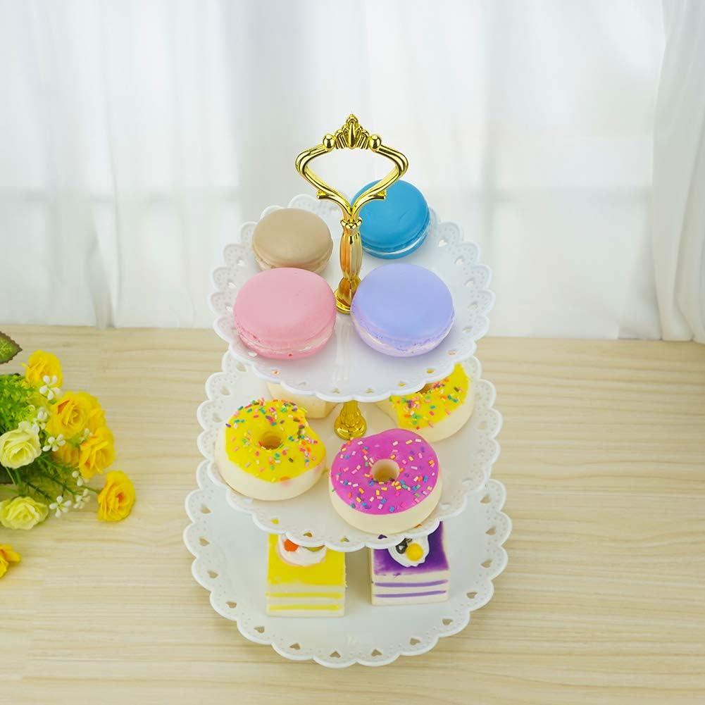 Hetoco 3 Livelli Plastica Cupcake Stand Alzate per Dolci Torte Frutta Muffin per Partito Anniversario Argento Oro Nero Piccolo