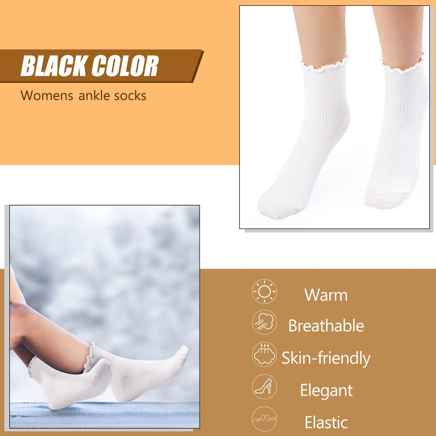 Women Ankle Socks Knit Lace Ruffle Socks Solid Color Casual Socks, 6 Pair