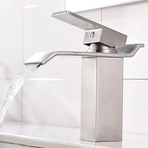 Merveilleux KINGO HOME Commercial Lavatory Vanity Single Handle Single Hole Brushed  Nickel Waterfall Bathroom Faucet, Bathroom