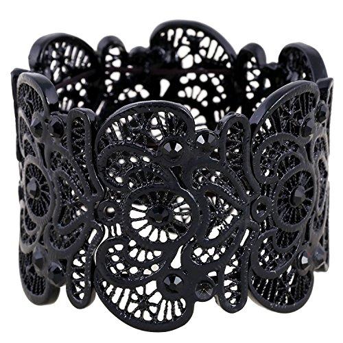 D EXCEED Womens Bohemian Lace Bracelet Vintage Filigree Cuff Bangle Bracelet Wide Stretch Rhinestone Bracelets for Ladies