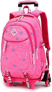 TYUIO Rolling Backpack Luggage School Travel Book Laptop Multifunction Wheeled Backpack for Kids and Students (Color : Pink)