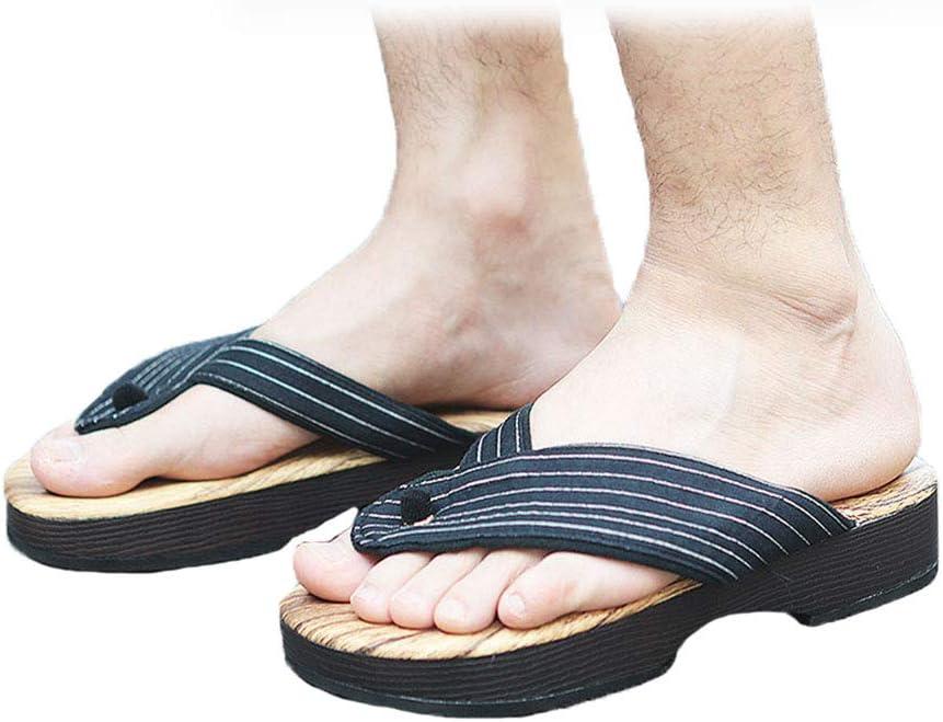 Mens Casual Sandals Deep Blue Stripe Soft Slippers Flip Flops for Outdoor Beach Travel