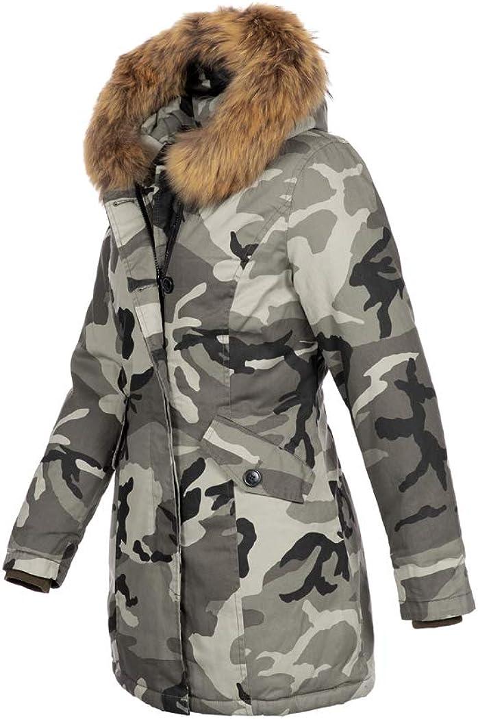 Elara Damen Winterjacke Echt Fell Mantel Chunkyrayan Camouflage Hamburg