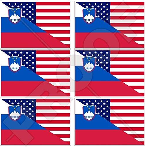Lot de 6 mini autocollants en vinyle pour téléphone portable avec drapeau américain et slovène 40 mm